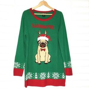 """Bah Hum Pug"" Pug Holiday/Christmas Sweater"